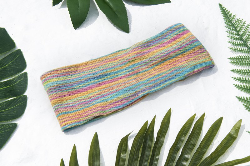 Hand-knitted hair band / braided colorful hair band / handmade hair band / knitted hair band / striped hair band - Rainbow World