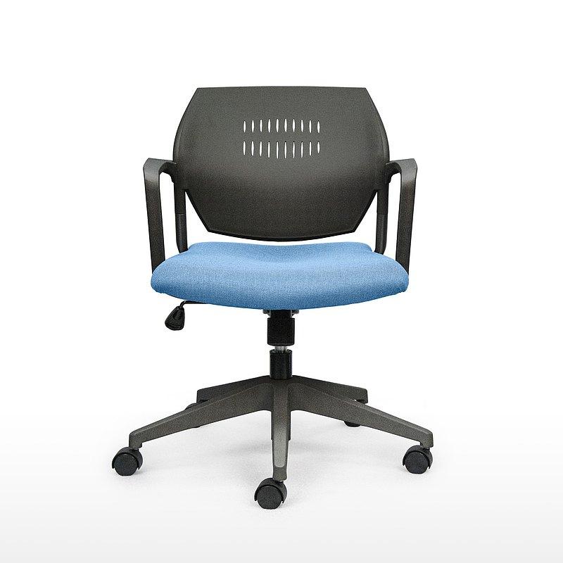 IMPRESSA | 小資扶手辦公椅 - 黑 x 灰藍座