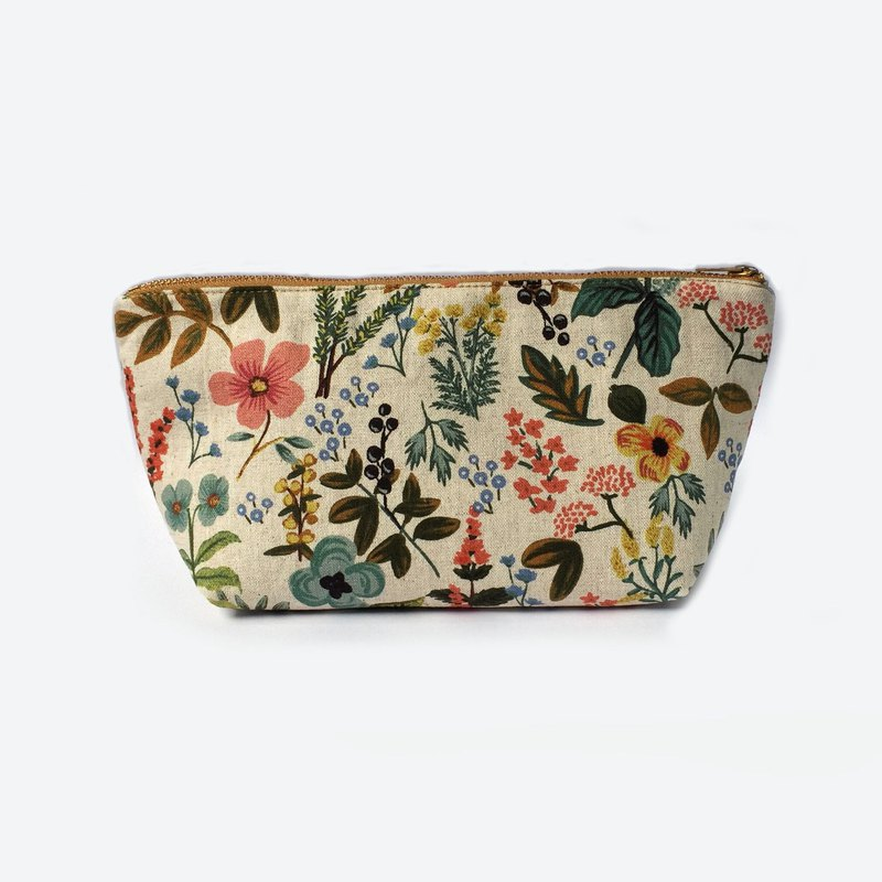 Floral Garden Large Zipper Pouch, Canvas Cosmetic Bag, Travel Gift Women
