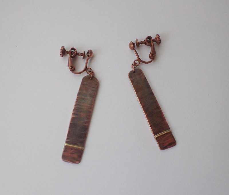 copper and brass earrings, one pair