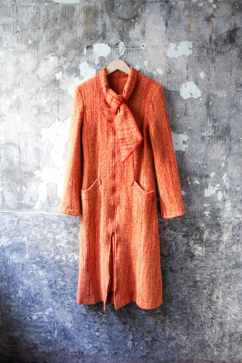 袅袅 Department Store-Vintage Orange Handwoven Trimmed Wool Coat