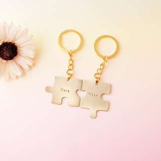 Minimalist sweet honey together put together a brass key ring customized hand knock letters lover gifts