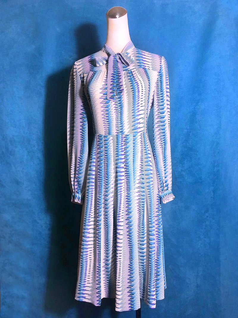 Totem bow tie long sleeve vintage dress / bring back VINTAGE abroad