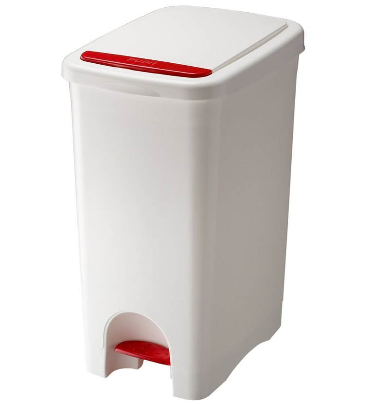 Japan URBANO | Press / pedal three open large capacity trash can 45L - black and white