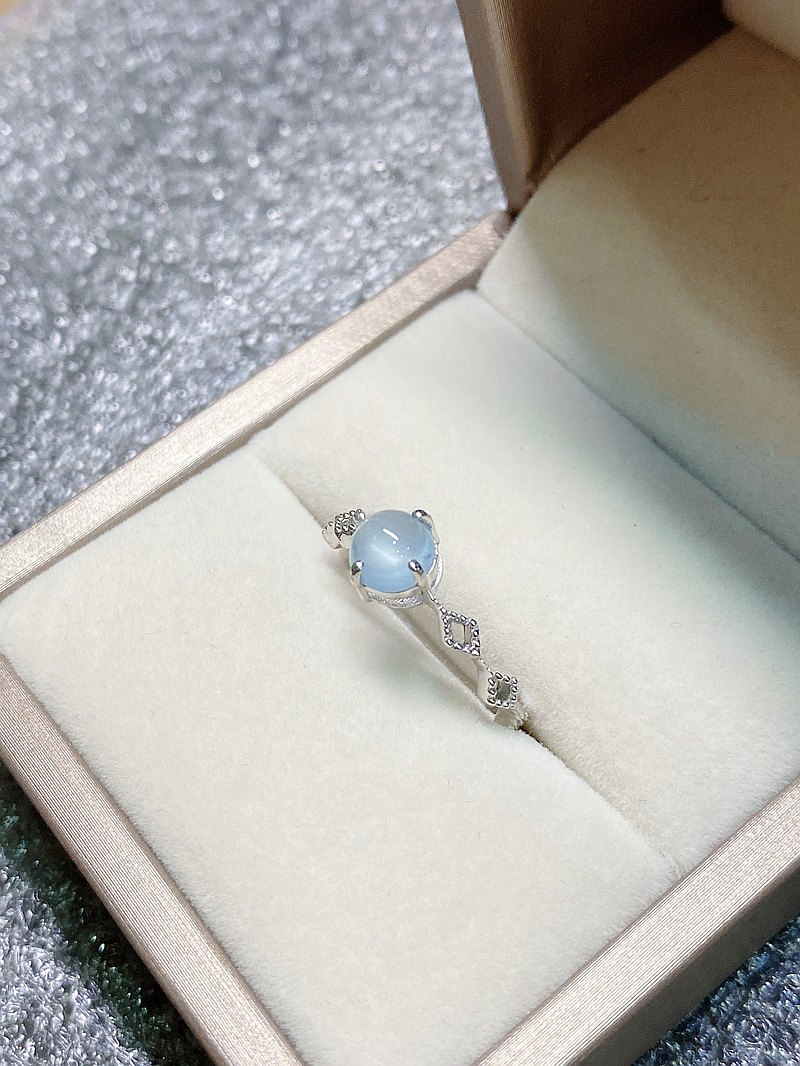 Egg Noodle Aquamarine Ring Made in India 925 Sterling Silver