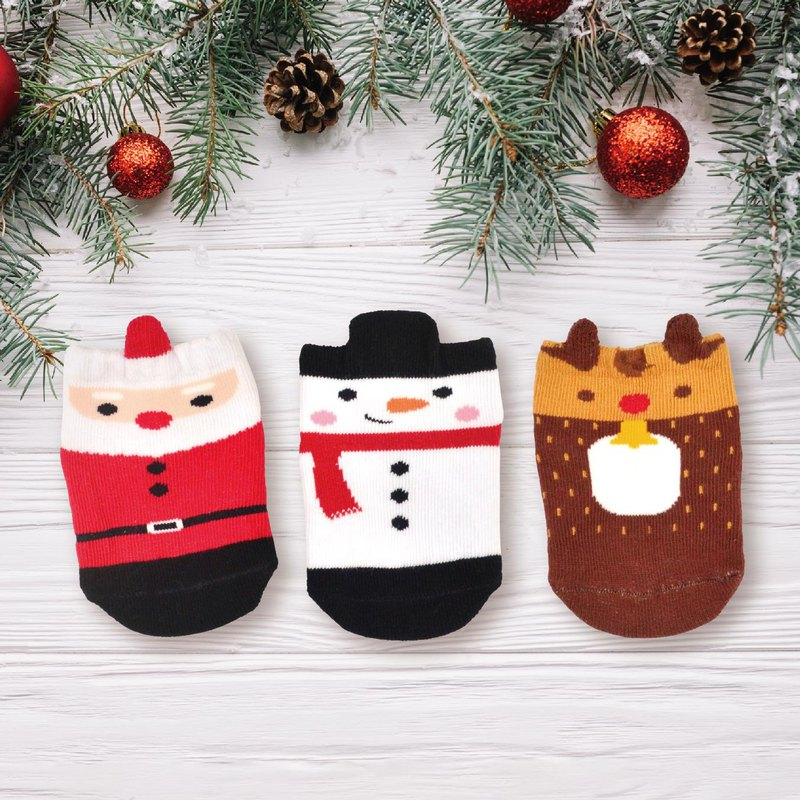 Christmas gift three-dimensional non-slip baby socks 3 each 1 gift box snowman Santa Claus reindeer