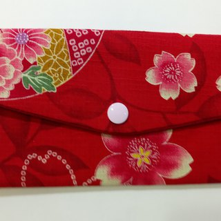 Lucky double red envelope bag / passbook storage bag (16 red cherry)