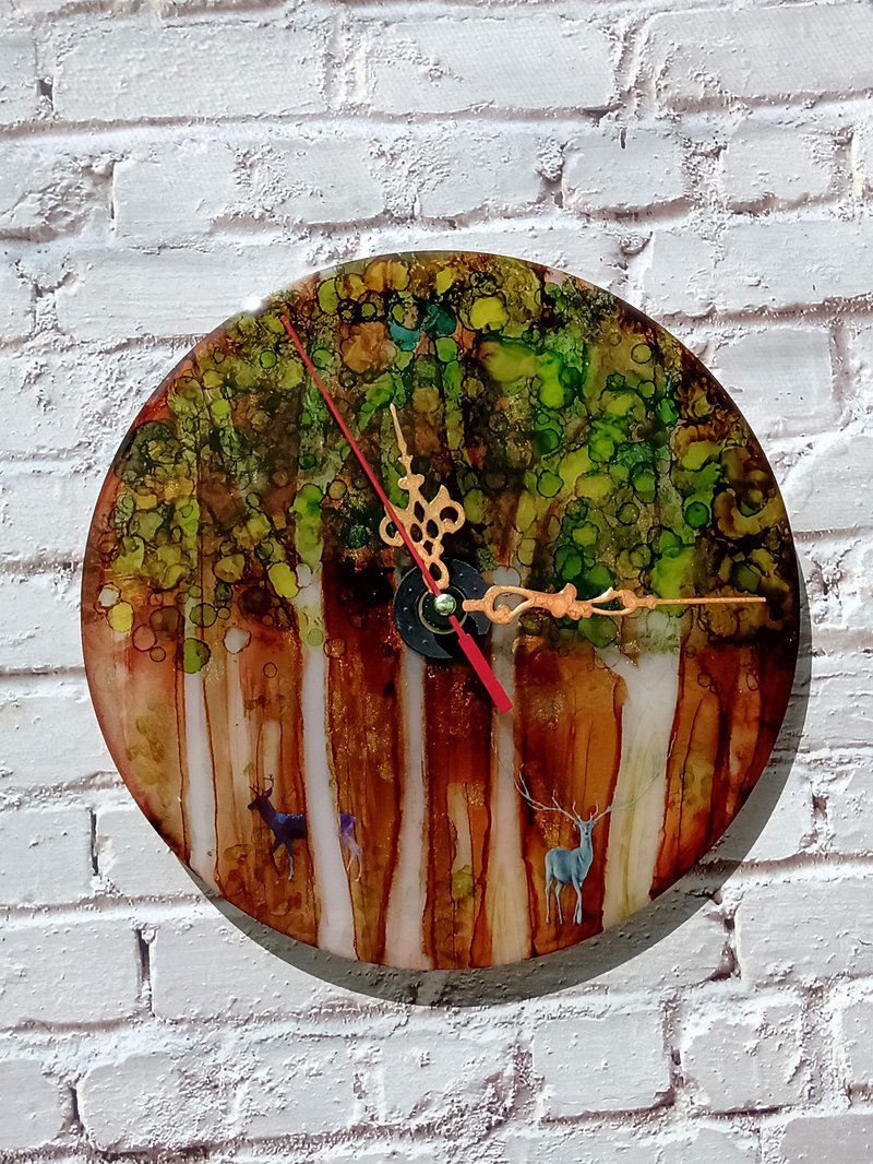 Handmade clock, handmade with Alcohol ink, Foggy forest