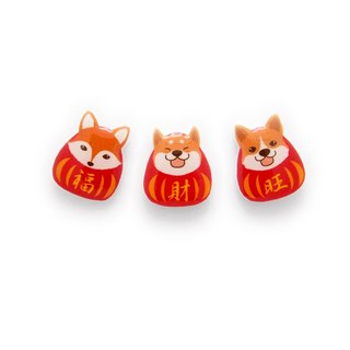 FOX GARDEN dog year Spring Festival earrings / ear acupuncture / ear clip (if not specified, with a transparent ear clip shipping)