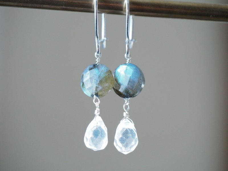 Labradorite quartz rose sterling silver earrings natural stone Labrodorite quartz Rose