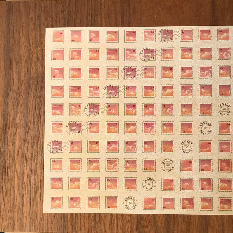 sunset stamp wrapping paper