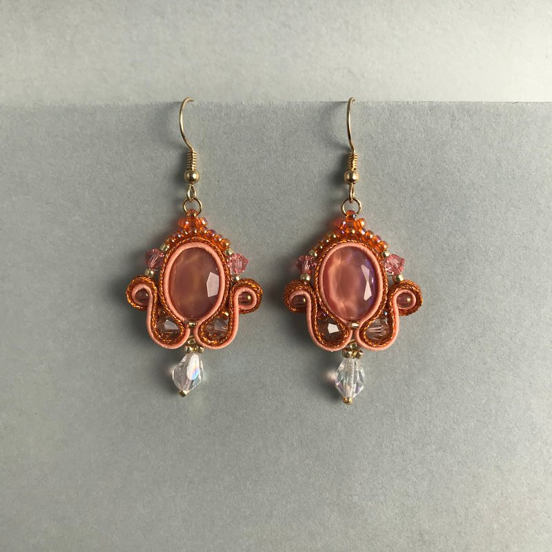 Soutache earrings Shaking clear orange earrings