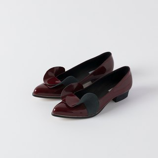 ZOODY / 涟漪 / handmade shoes / flat-bottomed pointed shoes / wine red