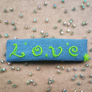 R ee denim LOVE embroidery hairpin HA011