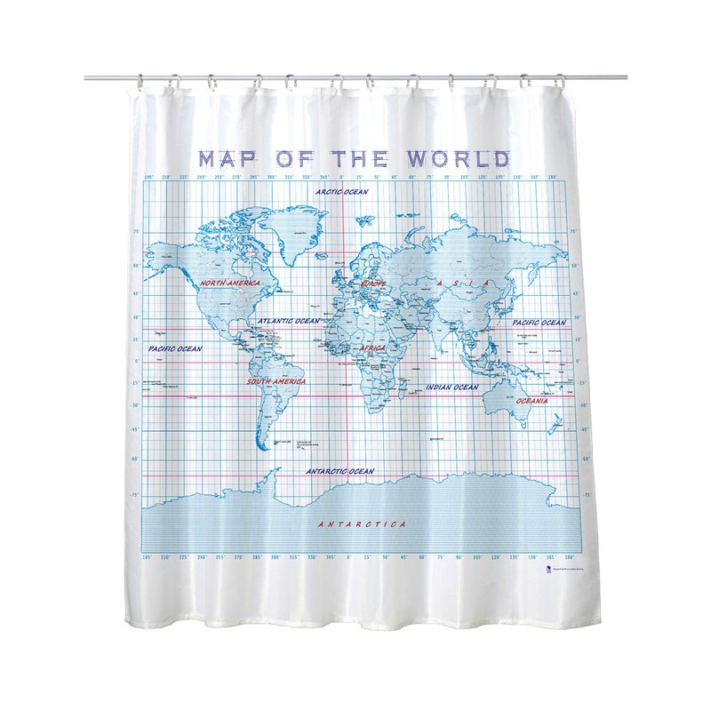Science Shower Curtain - Manuscript Map Shower Curtain