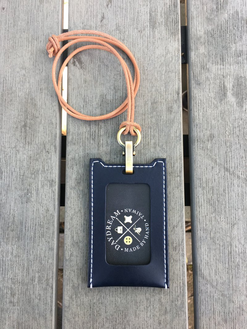 Handmade / card holder / straight / navy