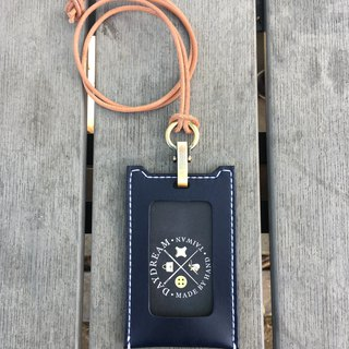 Handcrafted / vegetable tanner ID card holder / straight / navy