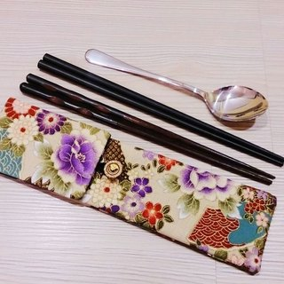 Green tableware storage bag chopsticks bag combination chopsticks special double chopsticks bags Japanese