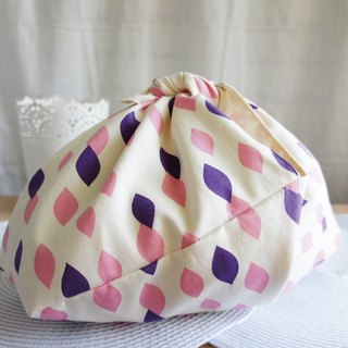 Lovely (Japanese cloth) geometric water puff foldable carry bag, green bag, powder purple