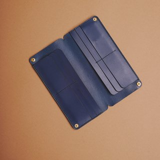Vegetable tanned long wallet navy blue long wallet fete