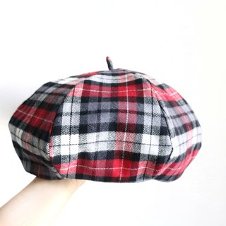 Red black plaid handmade double-sided hexagonal hat painter hat