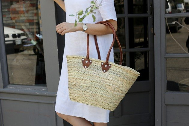 French rattan basket - elegant shoulder section