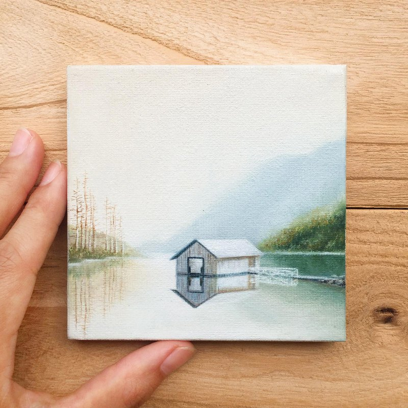 Cottage On Lake -Original Oil Painting. Relaxing Scenery Canvas Art Collection.