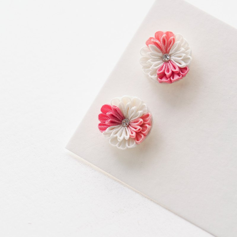 Dainty Pink and White Silk Flower and Crystal Earrings Clip-on 14KGF,S925 custom