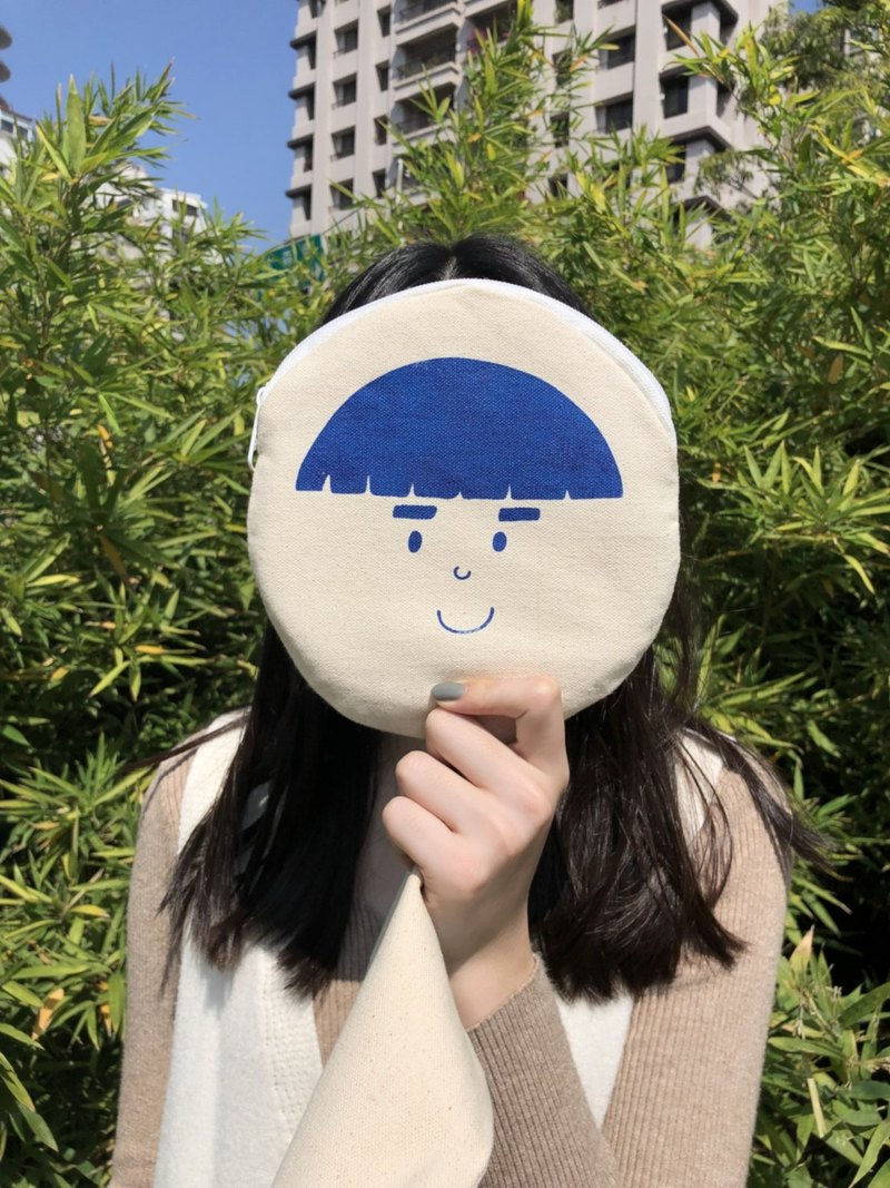 Sister's head children accompany you to laugh - round face canvas bag