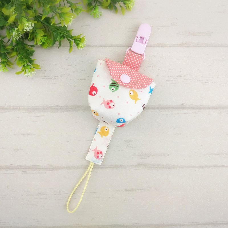 Happy little fish. Pacifier storage bag / pacifier chain (name can be embroidered)