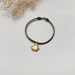 Wax line bracelet ginkgo leaf plain simple wax rope thin line