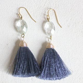 Azulito earrings - Natural aquamarines with blue tassels, cool mood