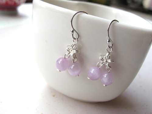 Snow dance] purple spodumex 925 silverware - Earrings Series - Handmade natural stone series