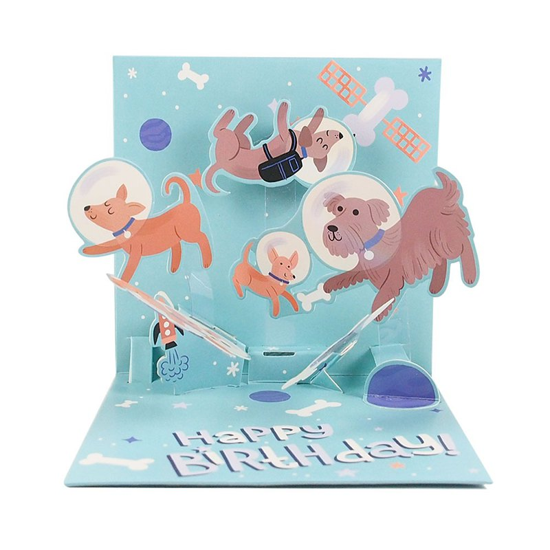 Dog as Space Experience [Up With Paper-Three-dimensional card birthday greetings]
