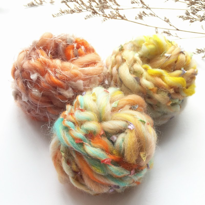 Orange DIY hand twine ball bag / hand spinning / hand-made wire / wool / DIY material / material bag / hand-made material package
