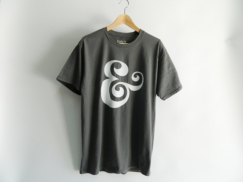 Ampersand Sign Unisex Charcoal Tee,And Logo Symbol,Handmade Shape T-shirt,Gift T