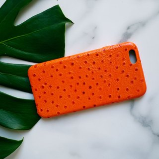 AOORTI :: Apple iPhone 6s/6s Plus Handcrafted Leather Coat Case/Mobile Phone Case - Orange Ostrich