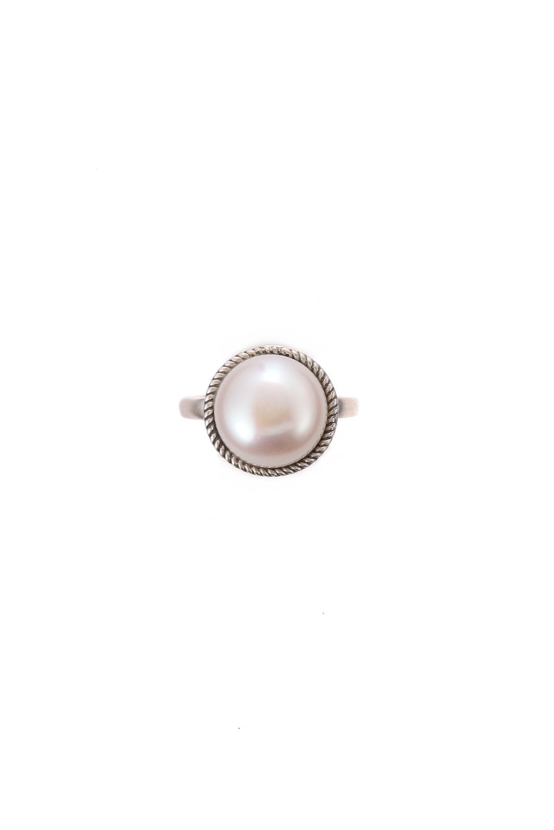 Baroque Collection - S925 Sterling Silver Pearl Open End Ring 01