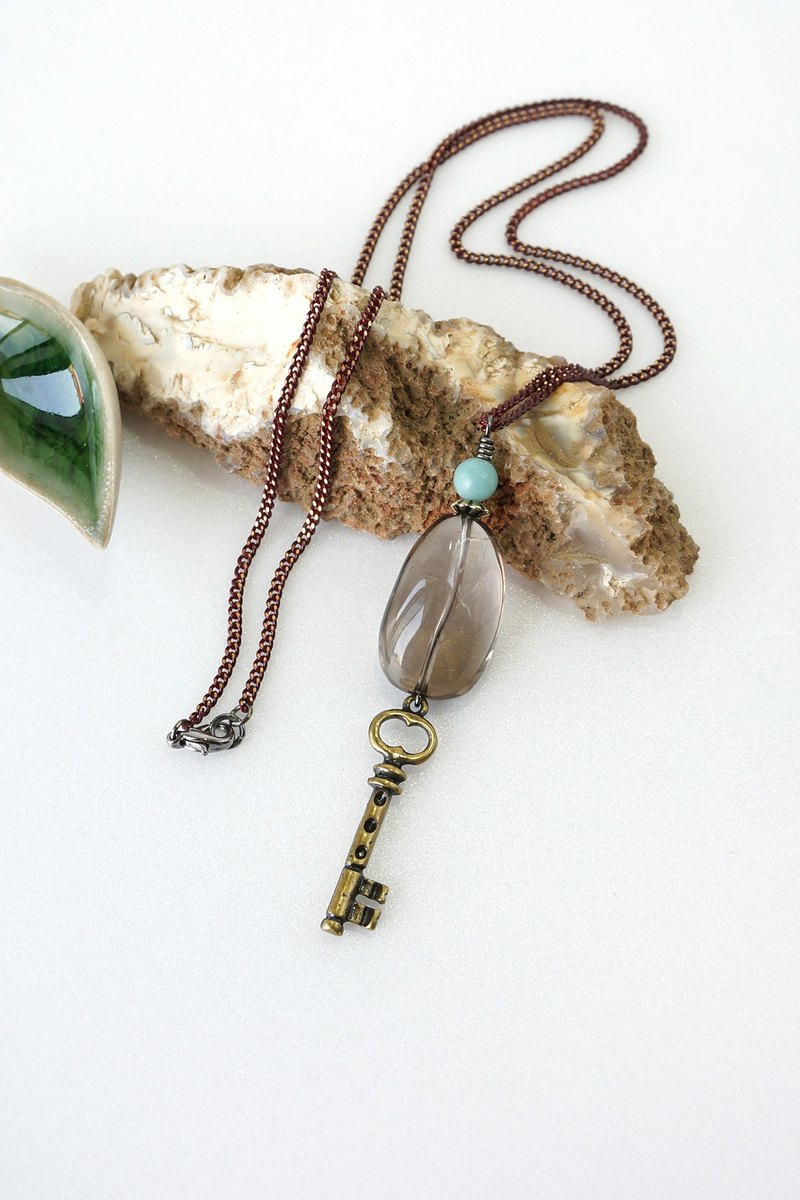 Smoky Quartz Crystal Necklace with Key Charm and Amazonite Stone