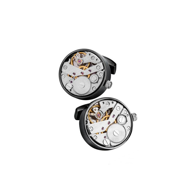Kings Collection Black Movement Watch Cufflinks KC10066 Black