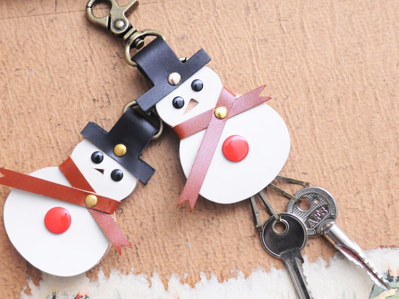 Snowman key ring winder well stitched leather material package exchange gift vegetable tanned cowhide Christmas