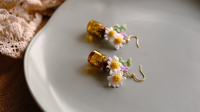 Crocheted bottle sunflower earrings