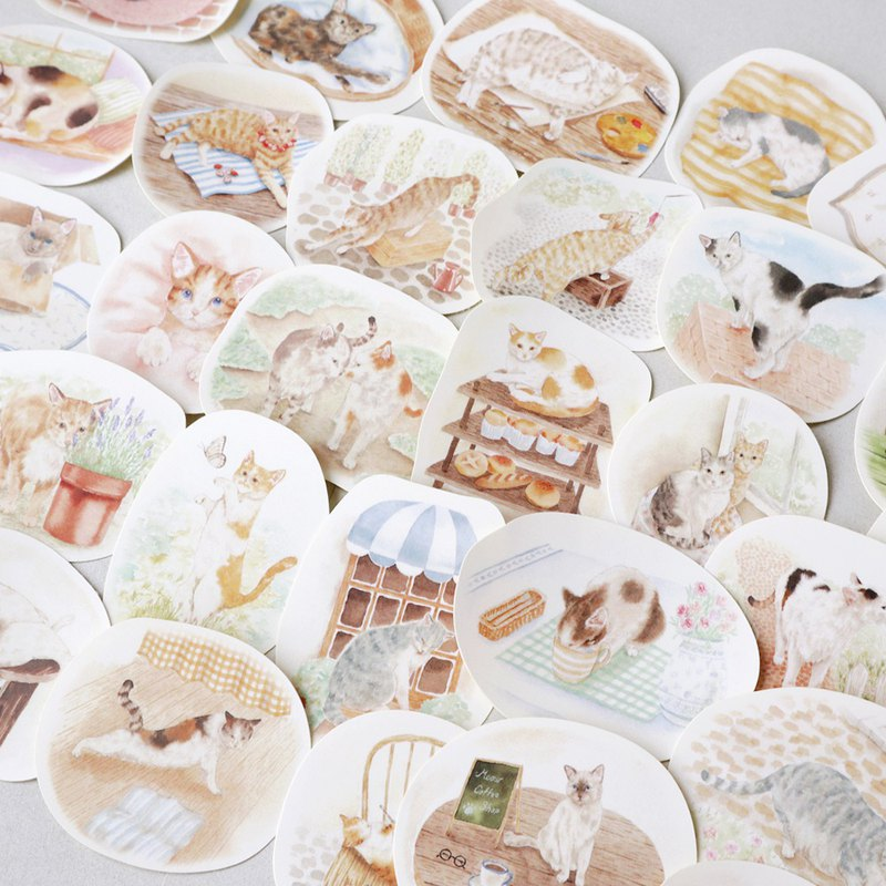 Cat picture book 30 into sticker set