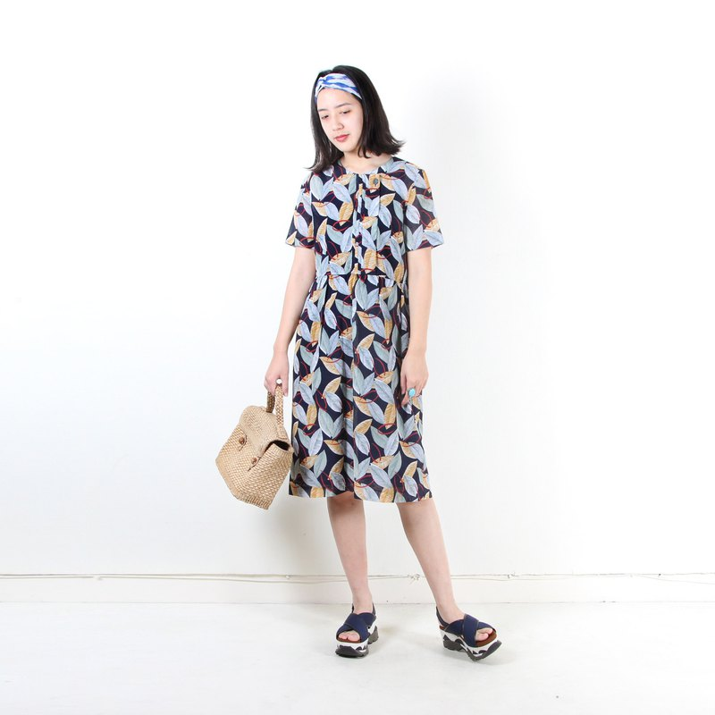 [Earth Plant] Night Rain Forest Print Short Sleeve Vintage Dress