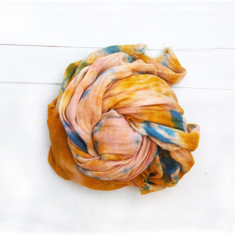Naturally Dyed Scarf  onion skin madder indigo dyed