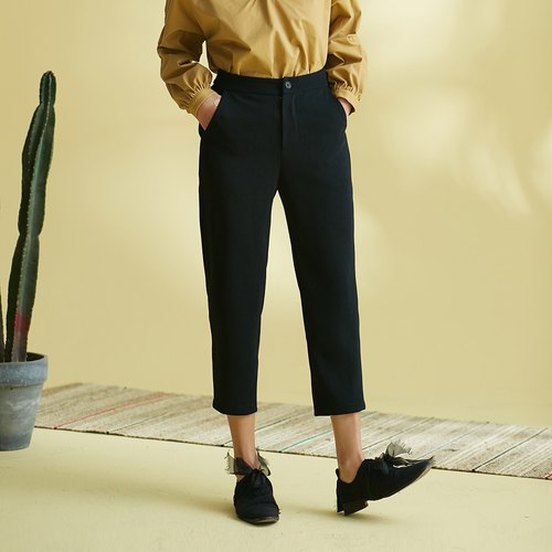 Annie Chen 2018 Spring New Women's Slightly Slightly Left Legs Stains - Specials - Pure Color Seven-Foot Feet Pants
