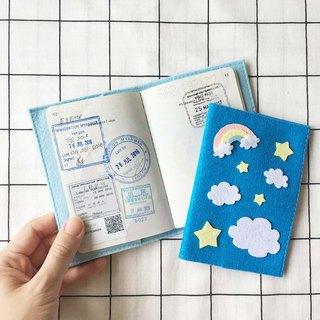 Blue sky, cloud, rainbow and star passport cover.