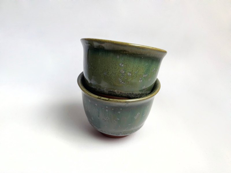 Buy five get one free. Grass green kiln crystal glaze small teacup