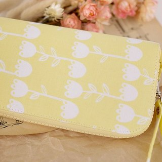 Flowers. Yellow early summer. Long cloth folder / wallet / purse / purse