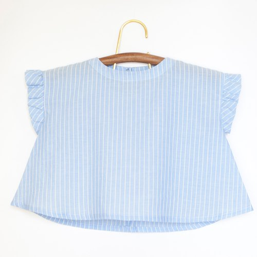 [My little star] staff hand to do quiet blue air feeling 100% organic cotton parent-child equipment (daughter models)